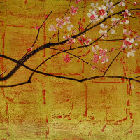 Cerisier en fleurs, rose sur fond or