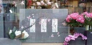 tableau toile cerisier sur gris/argent
